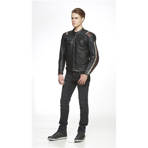 *Sweep leather jacket Ragnar Black/Red S