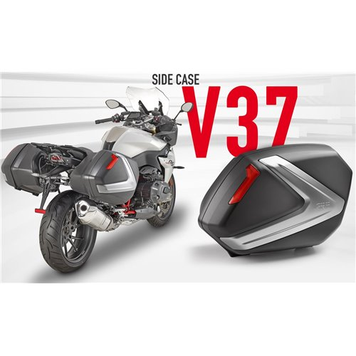 Givi V37 pair of blacksidecases with red reflectors