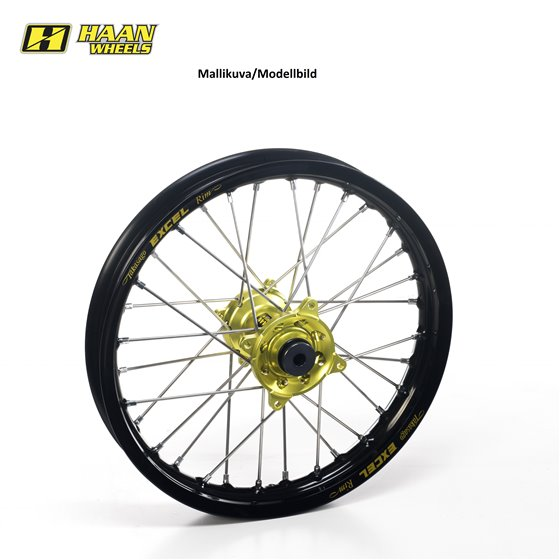 * Haan wheel SX65 REAR 16- 12-1,60 BLACK RIM/YELLOW HUB/BLACK SPOKES&NIPPLES