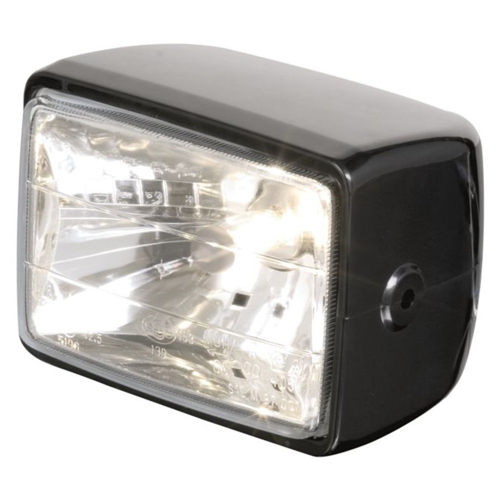 *Headlight Rect side mount black ABS E-mark