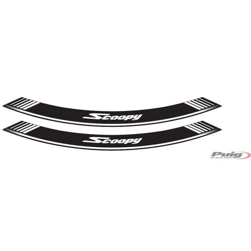 Puig Kit 8 Rim Strips Scoopy C/White