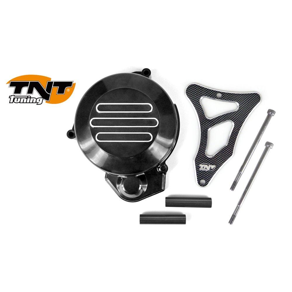 TNT Flywheel & Sprocket cover, Black/Carbon-style, Derbi Senda -05