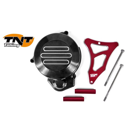 TNT Flywheel & Sprocket cover, Black/Red, Derbi Senda -05