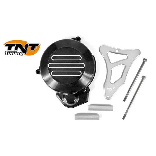 TNT Flywheel & Sprocket cover, Black/Silver, Derbi Senda -05