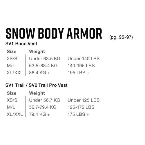 EVS SV1 Snowmobile Vest Race Model M/L