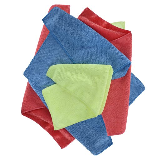 Oxford Microfibre Towels Pack of 6 Blue/Yellow/Red